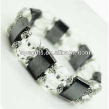 Bracelete magnético do espaço do hematita com liga e grânulos redondos do cristal de 8MM