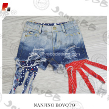 Pocket styling ripped finish girls denim shorts