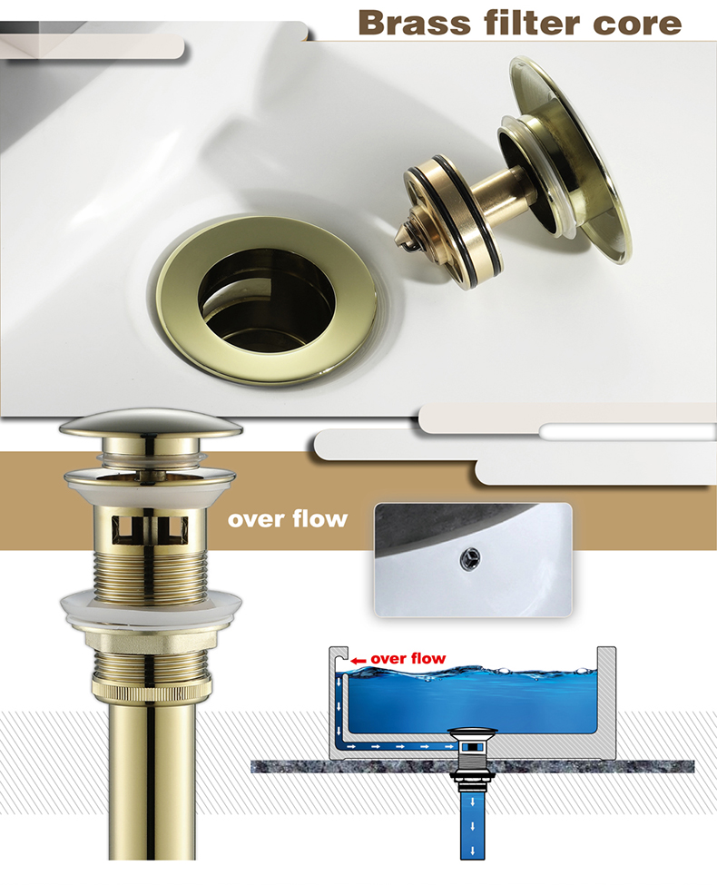 Gold Pop Up Drain