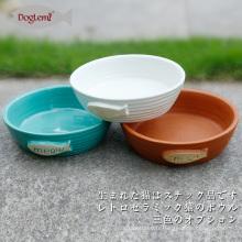 Bol de chargeur de nourriture de chat de chat de chat de nature de chat en céramique 3 couleurs