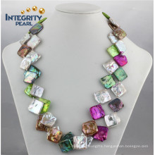 Modern Necklace Design 20-25mm Colorfuls Square Shell Pearl Necklace