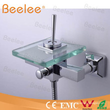 Mitigeur de douche de robinet de baignoire en verre de cascade de bâti de mur Qh0815-1W