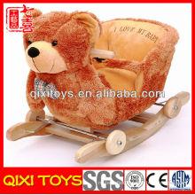 High quality cute gift plush bear rocking chair with music