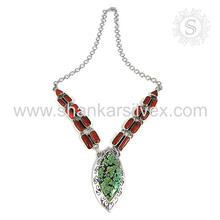 Aristokratische Koralle & Türkis Edelstein Silber Halskette Großhandel 925 Sterling Silber Schmuck indischen Schmuck