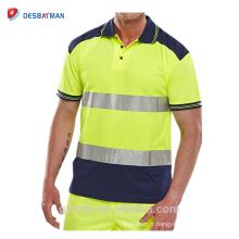 2018 Haute Qualité Salut Vis Chemise Deux Couleur Polo Personnalisé Logo Imprimé Haute Visibilité T-shirt Réfléchissant