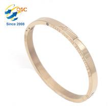 custom your logo gold color shackle stainless steel bracelet