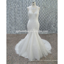 Guangzhou 2016 New Halter Sleeveless Mermaid Bridal Gown Sexy Open Back Full Appliqued White Lace Dress for Wedding 15134-1