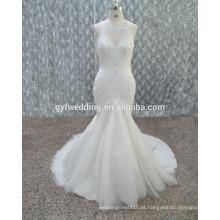 Guangzhou 2016 New Halter sem mangas sereia vestido de noiva Sexy Open Back Full Appliqued vestido de renda branca para casamento 15134-1
