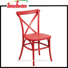 PP Plastic Cross Back Chair, plastic dining chair, all colors (KD)