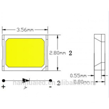 Super high flux output and high luminance 0.1w/0.2w SMD 2835 led / smd 2835 chip led