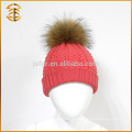 Gorra de lana de CC de las lanas del precio de fábrica Sombrero del invierno del niño de Pom Pom de la piel del mapache