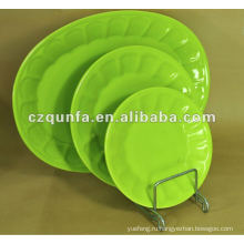 Овальная зеленая домашняя керамическая тарелка отеля