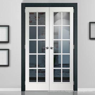 Puertas de madera de patio con marco de vidrio