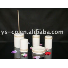 5pcs Baño de baño de cerámica de cerámica cilíndrico de lujo blanco del cuarto de baño del diamante