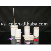 5pcs White luxury cylindrical ceramic acrylic diamond bathroom bath set