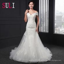 SL-003 sexy fuera del hombro cremallera cinturón vestido de novia de sirena de apliques 2016
