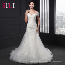 SL-003 Sexy Off Shoulder Zipper Belt Applique Mermaid Wedding Dress 2016