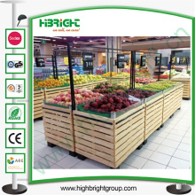 Estante de exhibición vegetal y de frutas de madera del supermercado