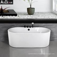 Aokeliya new arrivval 180cm acrylic modern white freestanding bathtub for sale indoor soaking bathtub for home