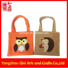 Handmade cheap felt tote bag felt handbag embroidery animals felt bag