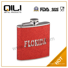 6oz stainless steel whisky glitter leather wrapped hip flask