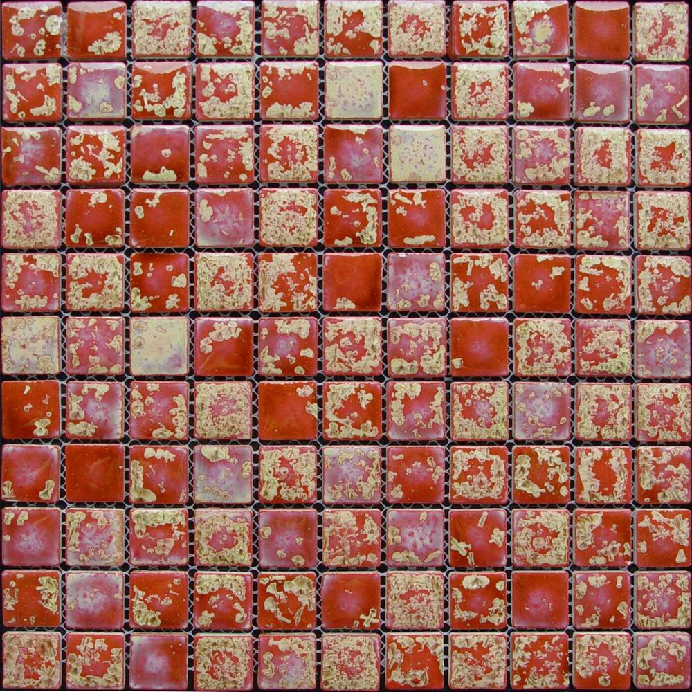 Red Glazed Ceramic Mosaic Tile