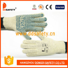 Natural Cotton or Polyester String Knit Gloves with Blue PVC Dots One Side with Logo