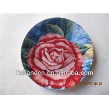 Fantástico postre de cerámica redonda de rosa roja / platos de servir
