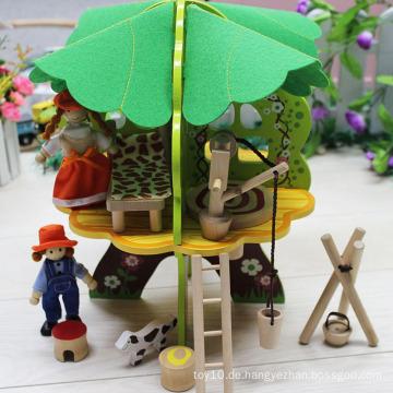 Kinder DIY Holz Baum Spielzeug Puppe Haus mit Möbeln