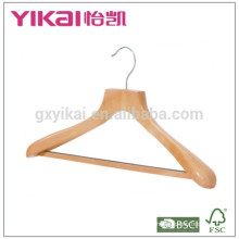 Wide shoulder coat wooden hanger with round bar and non-slip tube