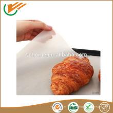 Facile à utiliser non-bâtonnable en tôle de cuisson en ptfe en fibre de verre revêtue pour garniture de qualité alimentaire Doublure en four à teflon
