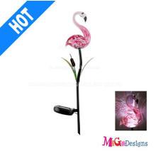 Estaca solar movida por atacado das luzes do jardim do flamingo de vidro por atacado