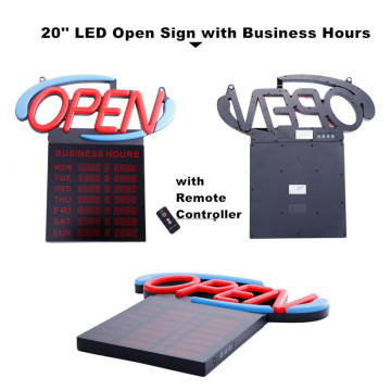 20 '' Open Sign with Store Hours for Sale