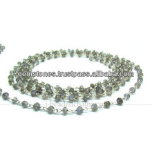 Wholesale Silver Smoky Quartz Rondelle Faceted Beaded Chain, Gemstone Bezel Jewelry