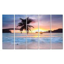 Salida del sol en el arte de la impresión de la lona del mar / de la playa de la palmera del verano Arte de la pared / del cartel de la playa para la sala de estar