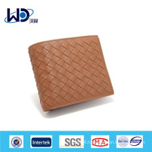 Knitted square leather wallet