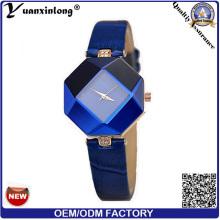YXL-156 2016 новый дизайн из нержавеющей стали ювелирные изделия Дамы браслет наручные часы геометрии синий кожаный ремешок женщин платье часы