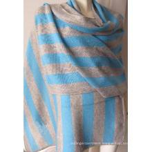 30% Cashmere 70% Wool Stripe Warp Shawl