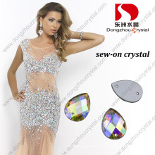 Drop Flat Back Glass Rhinestone with Two Holes