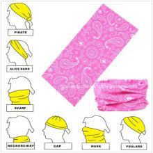 Seamless Style Pink Paisley Printed Custom Buff Headscarf Neck Tubular Bandanna