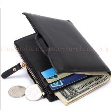 OEM Logo Fashion PU Zipper Billfold Purse Wallet with Coin Pocket