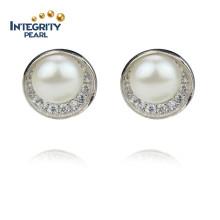 925 de plata 9 mm AAA botón perlas cultivadas de agua dulce Earings
