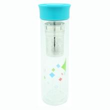 Двойная стенка стеклянная бутылка с Сетчатый фильтр 380 мл