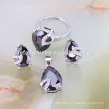 Modeschmuck schwere Halskette Großhandel schwarze Perle Schmuck-Set