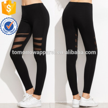 Leggings d'insertion de maille noire OEM / ODM Fabrication en gros de vêtements de mode des femmes (TA7037L)