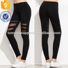 Black Mesh Insert Leggings OEM/ODM Manufacture Wholesale Fashion Women Apparel (TA7037L)