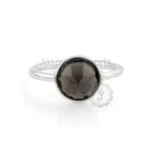 Precioso piedras preciosas de cuarzo ahumado Nuevo diseño dedo de las señoras anillo para las mujeres en la venta al por mayor