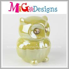 Banco de dinheiro de moeda cerâmica verde coruja fantástico
