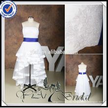 RSW536 Plus Size Front kurz und lang zurück Royal-Blue-And-White-Hochzeitskleider