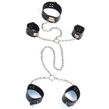 Sm Инструменты Сексуальные наручники с лодыжкой Манжета для шеи с металлической цепочкой Секс-повязка Секс-сдержанность Sm Set